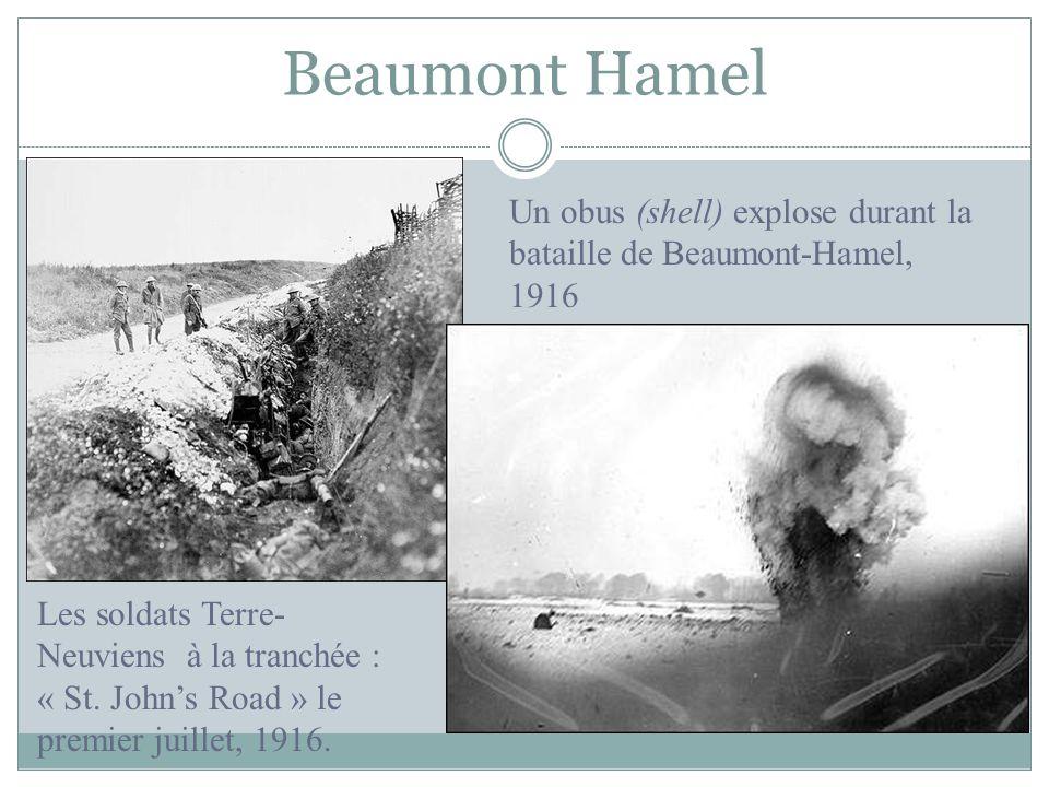 Beaumont Hamel Les soldats Terre- Neuviens à la tranchée : « St. Johns Road » le premier juillet, 1916. Un obus (shell) explose durant la bataille de