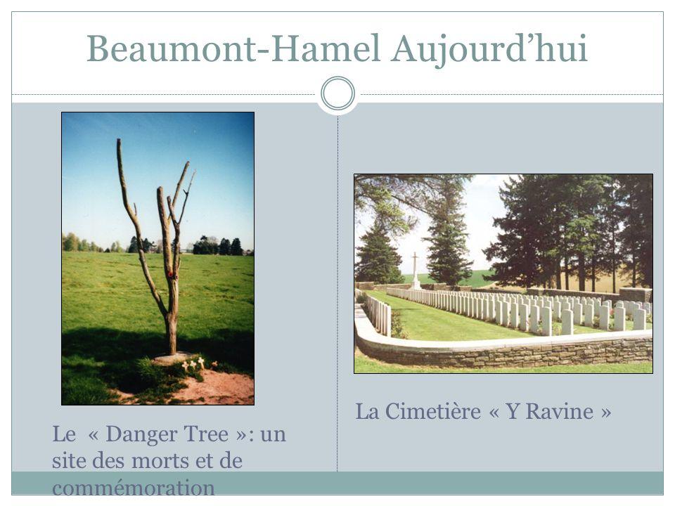 Beaumont-Hamel Aujourdhui Le « Danger Tree »: un site des morts et de commémoration La Cimetière « Y Ravine »