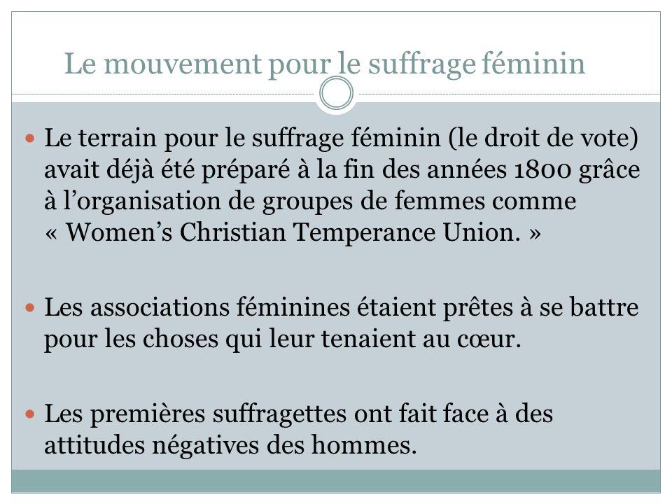 Le mouvement pour le suffrage féminin Le terrain pour le suffrage féminin (le droit de vote) avait déjà été préparé à la fin des années 1800 grâce à lorganisation de groupes de femmes comme « Womens Christian Temperance Union.