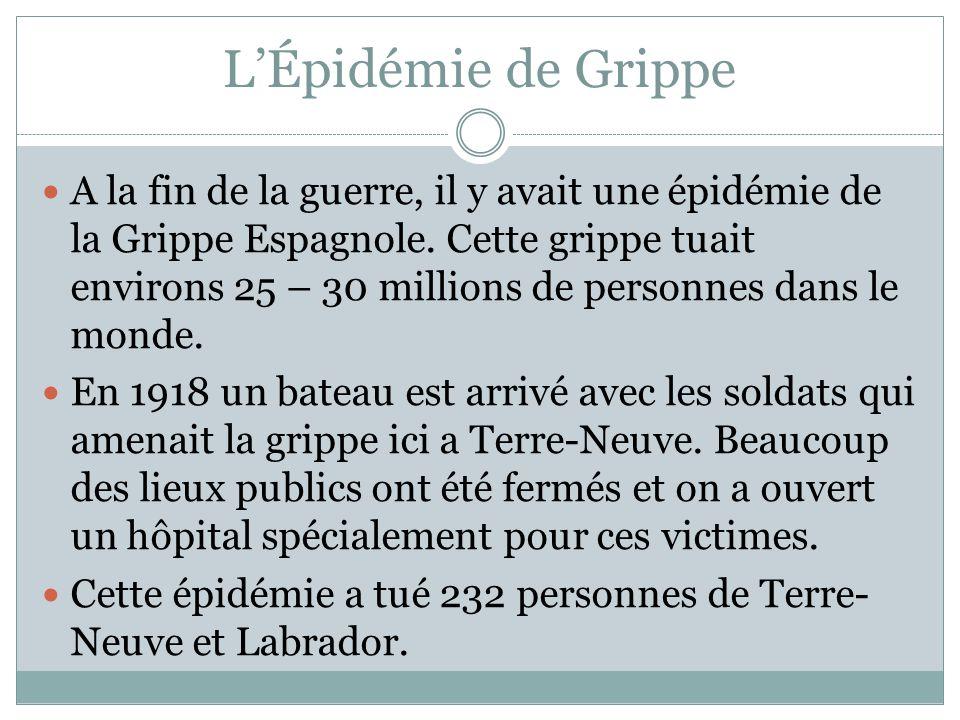 LÉpidémie de Grippe A la fin de la guerre, il y avait une épidémie de la Grippe Espagnole. Cette grippe tuait environs 25 – 30 millions de personnes d