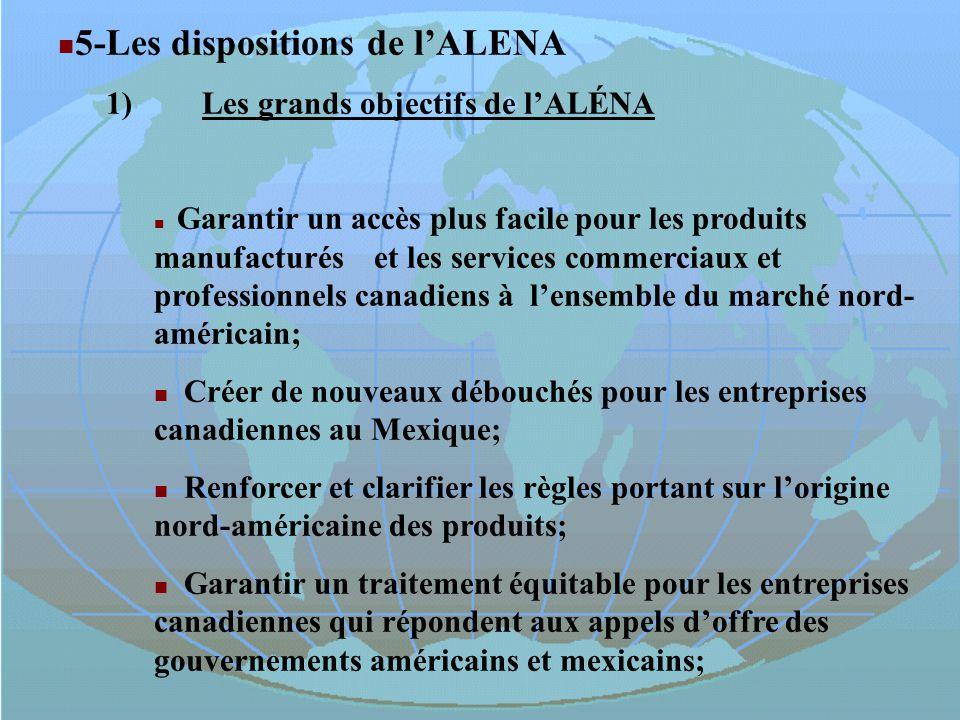 5-Les dispositions de lALENA 1)Les grands objectifs de lALÉNA Garantir un accès plus facile pour les produits manufacturés et les services commerciaux