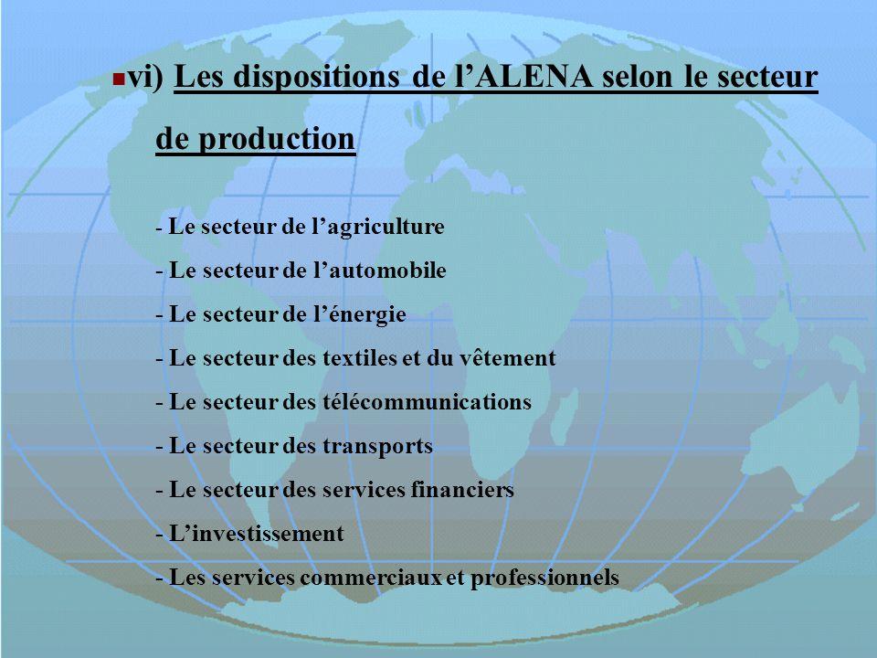 vi) Les dispositions de lALENA selon le secteur de production - Le secteur de lagriculture - Le secteur de lautomobile - Le secteur de lénergie - Le s
