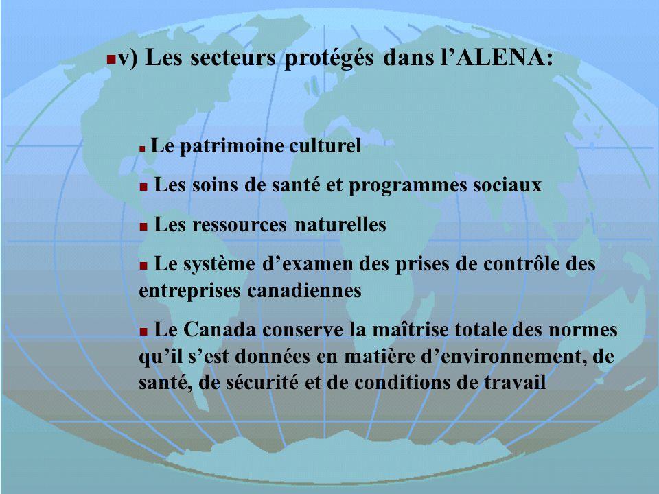 v) Les secteurs protégés dans lALENA: Le patrimoine culturel Les soins de santé et programmes sociaux Les ressources naturelles Le système dexamen des