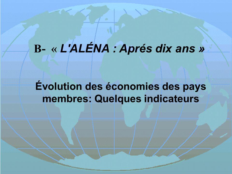 B- « L'ALÉNA : Aprés dix ans » Évolution des économies des pays membres: Quelques indicateurs