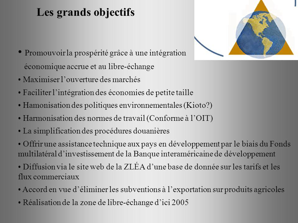 Les grands objectifs Promouvoir la prospérité grâce à une intégration économique accrue et au libre-échange Maximiser louverture des marchés Faciliter