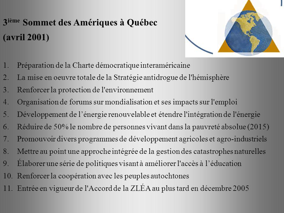 3 ième Sommet des Amériques à Québec (avril 2001) 1.Préparation de la Charte démocratique interaméricaine 2.La mise en oeuvre totale de la Stratégie a