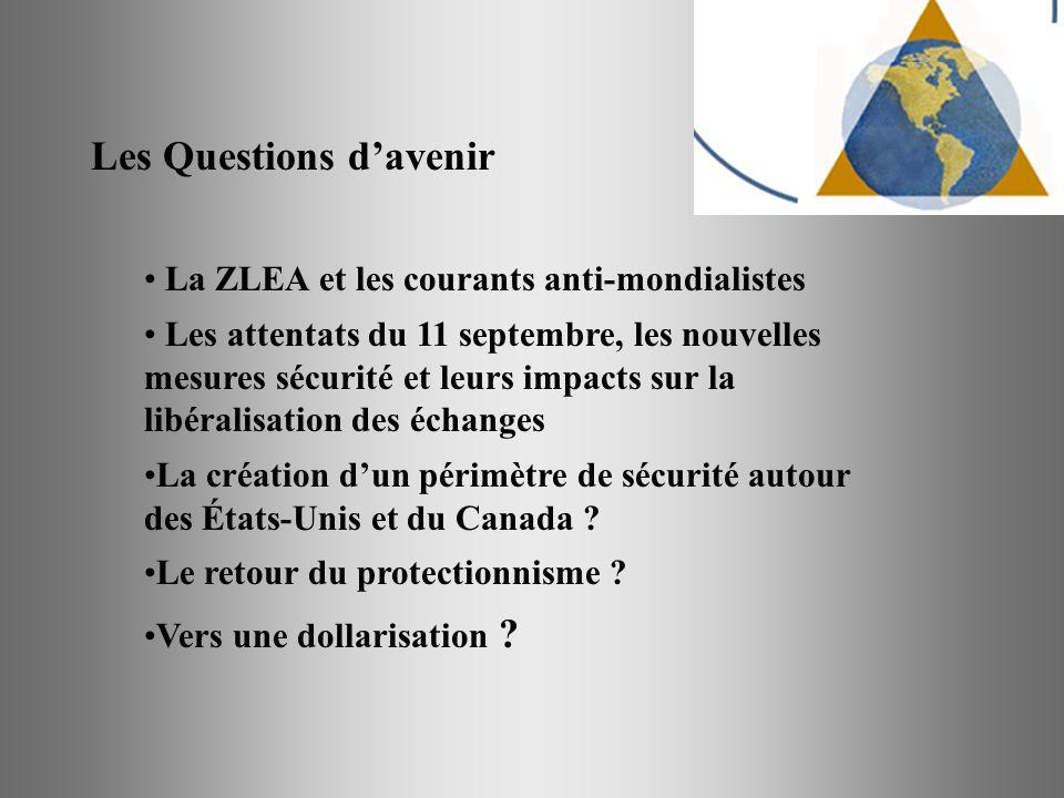 Les Questions davenir La ZLEA et les courants anti-mondialistes Les attentats du 11 septembre, les nouvelles mesures sécurité et leurs impacts sur la