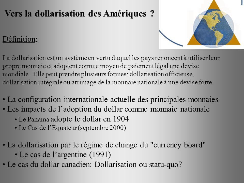 Vers la dollarisation des Amériques ? Définition: La dollarisation est un système en vertu duquel les pays renoncent à utiliser leur propre monnaie et