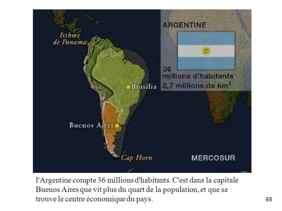 65 l'Argentine compte 36 millions d'habitants. C'est dans la capitale Buenos Aires que vit plus du quart de la population, et que se trouve le centre