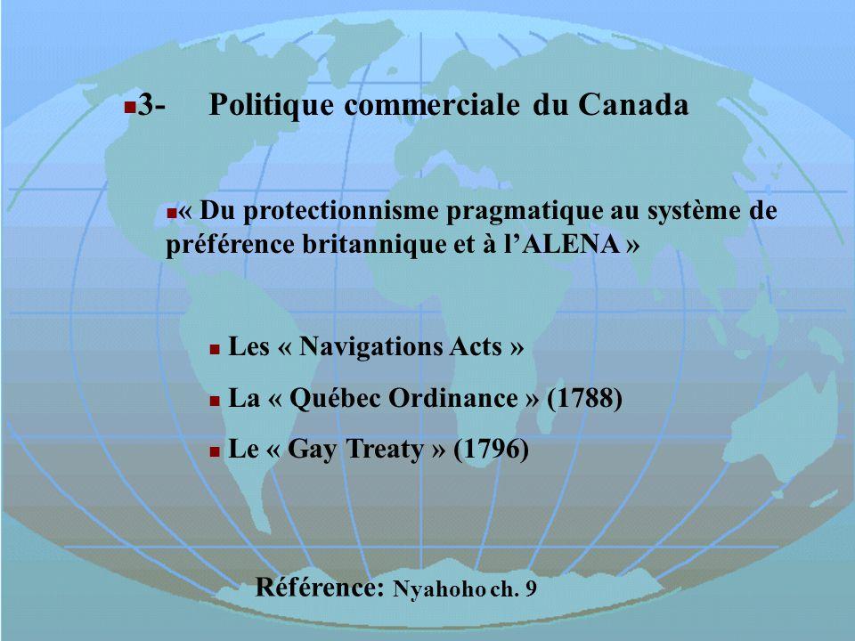 3-Politique commerciale du Canada « Du protectionnisme pragmatique au système de préférence britannique et à lALENA » Les « Navigations Acts » La « Qu