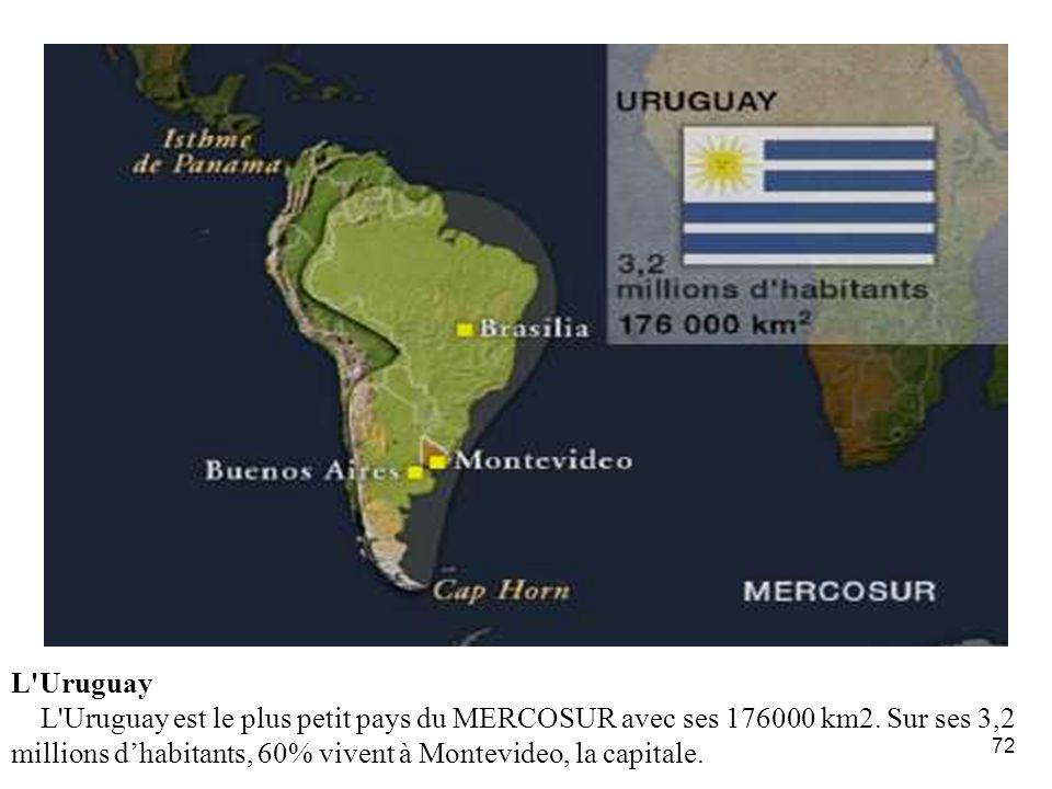 72 L'Uruguay L'Uruguay est le plus petit pays du MERCOSUR avec ses 176000 km2. Sur ses 3,2 millions dhabitants, 60% vivent à Montevideo, la capitale.