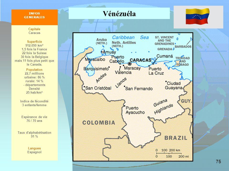 75 INFOS GENERALES Capitale Caracas Superficie 912.050 km² 1,5 fois la France 22 fois la Suisse 30 fois la Belgique mais 11 fois plus petit que le Can