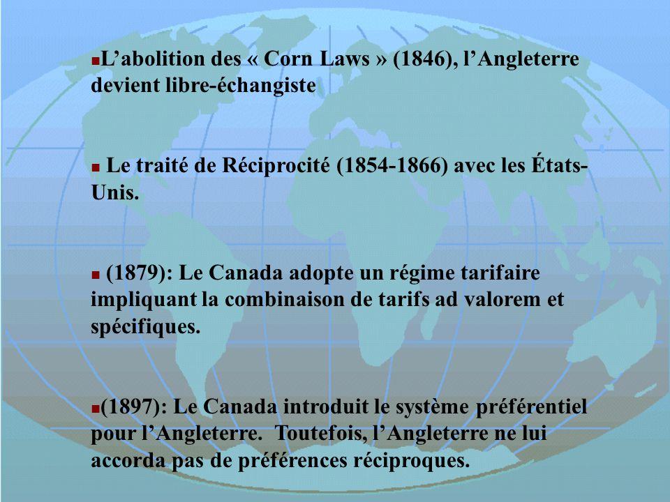 Labolition des « Corn Laws » (1846), lAngleterre devient libre-échangiste Le traité de Réciprocité (1854-1866) avec les États- Unis. (1879): Le Canada