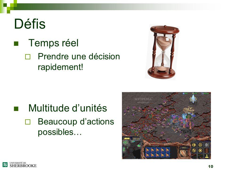 10 Temps réel Prendre une décision rapidement! Multitude dunités Beaucoup dactions possibles… Défis