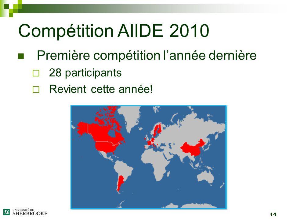 14 Première compétition lannée dernière 28 participants Revient cette année! Compétition AIIDE 2010