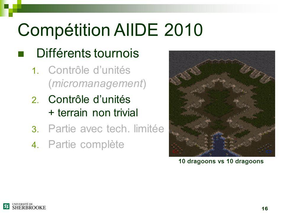 16 Différents tournois 1. Contrôle dunités (micromanagement) 2. Contrôle dunités + terrain non trivial 3. Partie avec tech. limitée 4. Partie complète