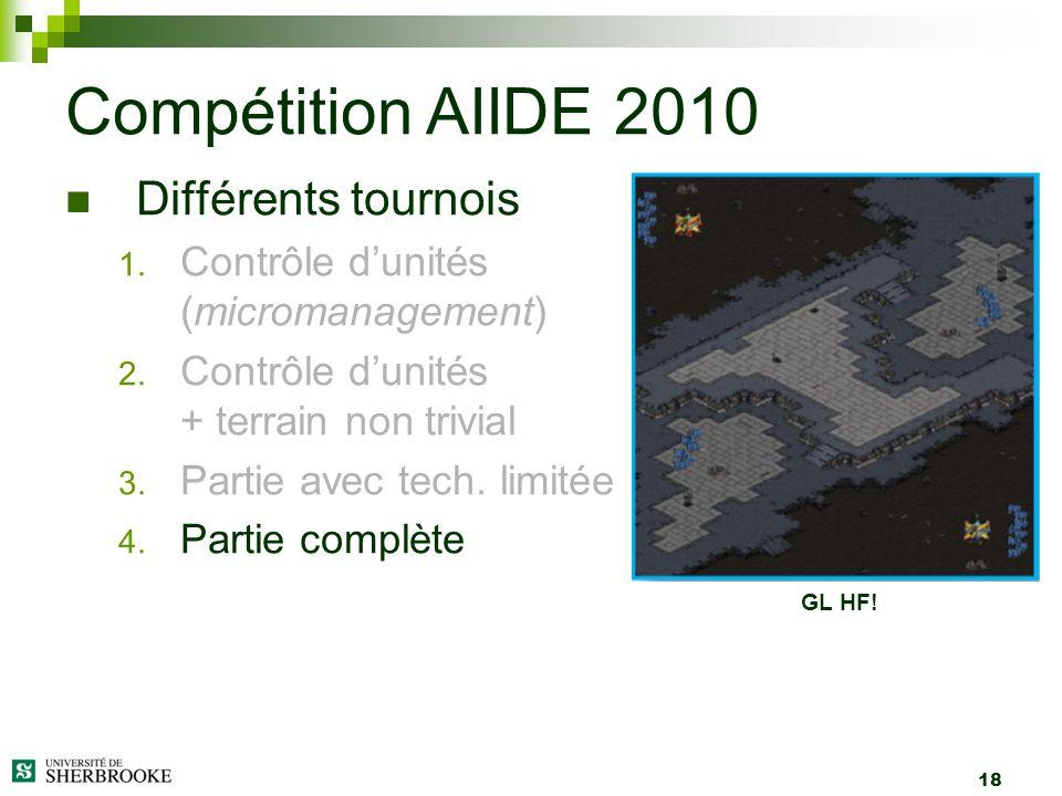 18 Différents tournois 1. Contrôle dunités (micromanagement) 2. Contrôle dunités + terrain non trivial 3. Partie avec tech. limitée 4. Partie complète