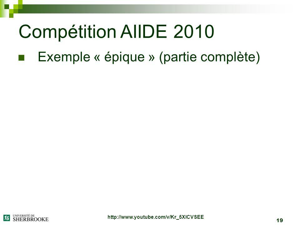 19 Exemple « épique » (partie complète) Compétition AIIDE 2010 http://www.youtube.com/v/Kr_5XICVSEE