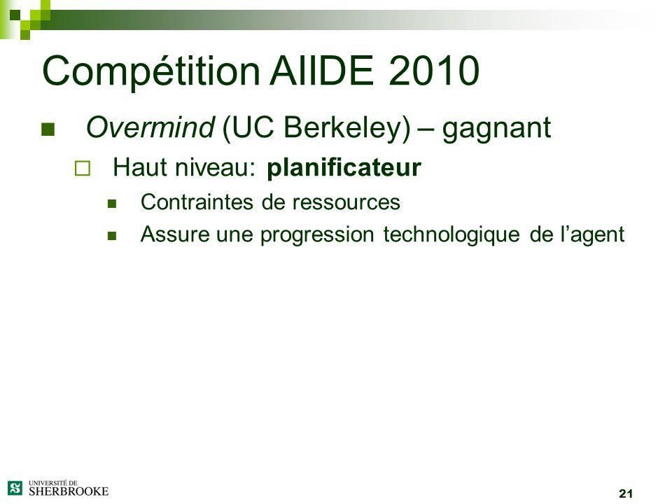 21 Overmind (UC Berkeley) – gagnant Haut niveau: planificateur Contraintes de ressources Assure une progression technologique de lagent Compétition AI