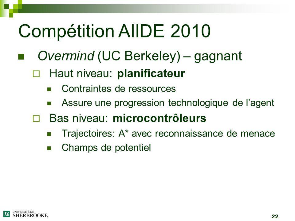 22 Overmind (UC Berkeley) – gagnant Haut niveau: planificateur Contraintes de ressources Assure une progression technologique de lagent Bas niveau: mi