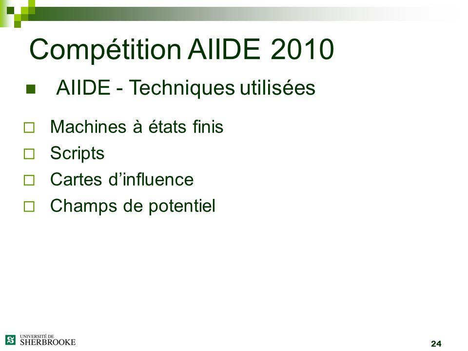 24 Machines à états finis Scripts Cartes dinfluence Champs de potentiel Compétition AIIDE 2010 AIIDE - Techniques utilisées