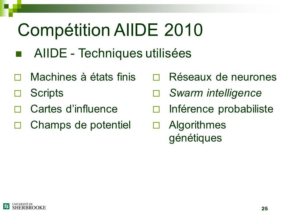 25 Machines à états finis Scripts Cartes dinfluence Champs de potentiel Compétition AIIDE 2010 AIIDE - Techniques utilisées Réseaux de neurones Swarm