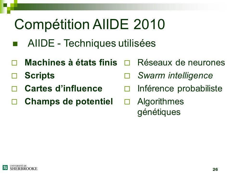 26 Machines à états finis Scripts Cartes dinfluence Champs de potentiel Compétition AIIDE 2010 AIIDE - Techniques utilisées Réseaux de neurones Swarm