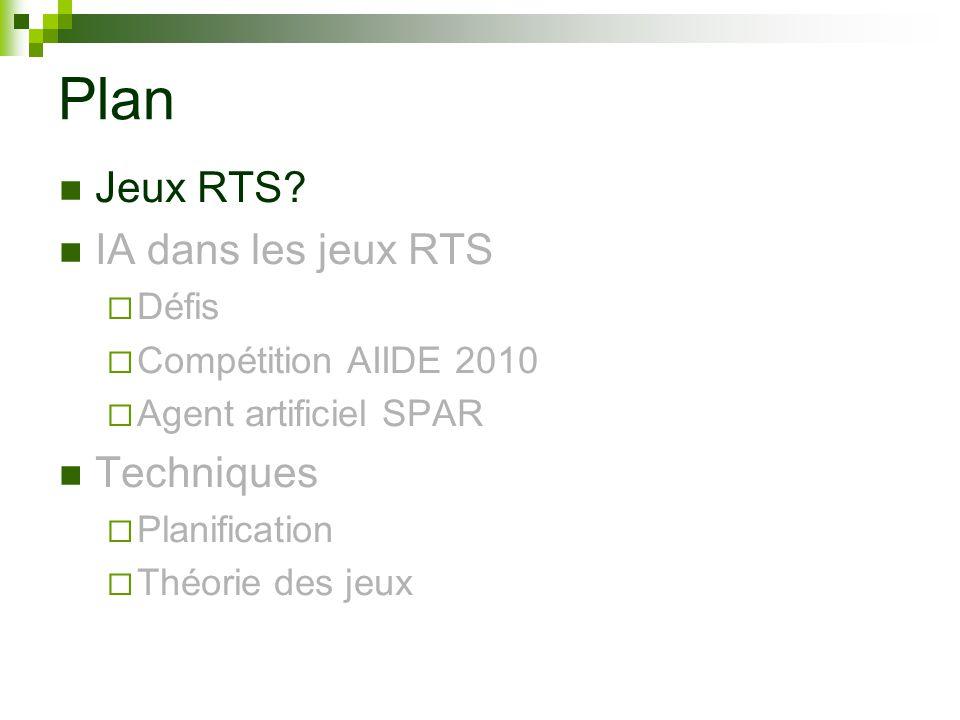 Plan Jeux RTS? IA dans les jeux RTS Défis Compétition AIIDE 2010 Agent artificiel SPAR Techniques Planification Théorie des jeux