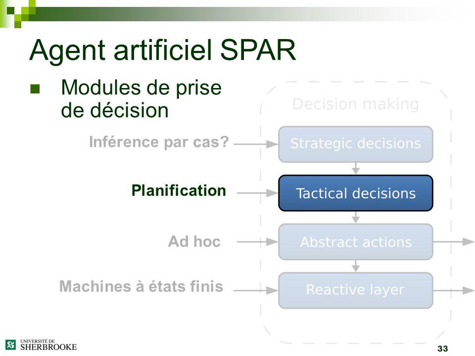 33 Agent artificiel SPAR Inférence par cas? Planification Ad hoc Machines à états finis Modules de prise de décision