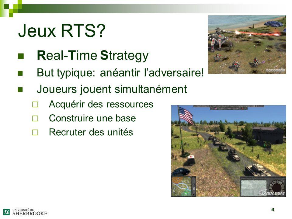 4 Real-Time Strategy But typique: anéantir ladversaire! Joueurs jouent simultanément Acquérir des ressources Construire une base Recruter des unités J