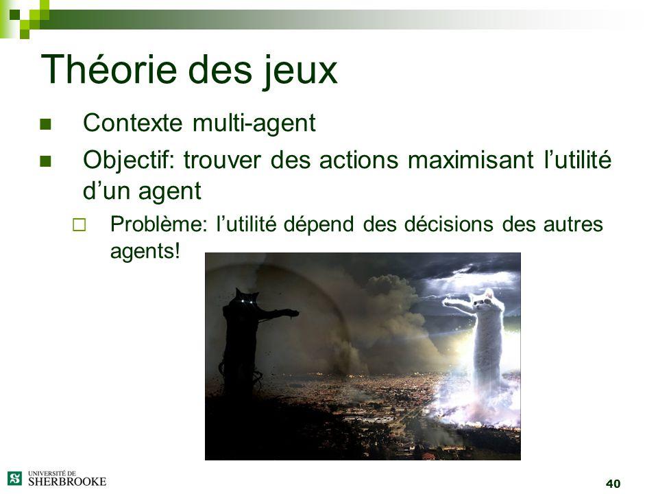 40 Contexte multi-agent Objectif: trouver des actions maximisant lutilité dun agent Problème: lutilité dépend des décisions des autres agents! Théorie