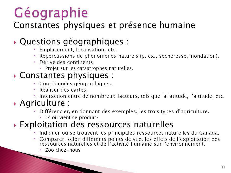 Constantes physiques et présence humaine Questions géographiques : Emplacement, localisation, etc.