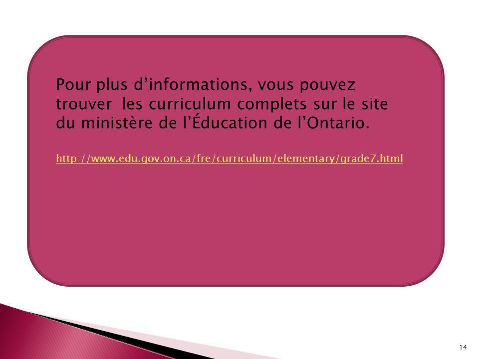 14 Pour plus dinformations, vous pouvez trouver les curriculum complets sur le site du ministère de lÉducation de lOntario.