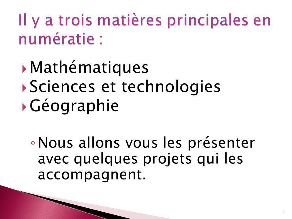 Mathématiques Sciences et technologies Géographie Nous allons vous les présenter avec quelques projets qui les accompagnent.