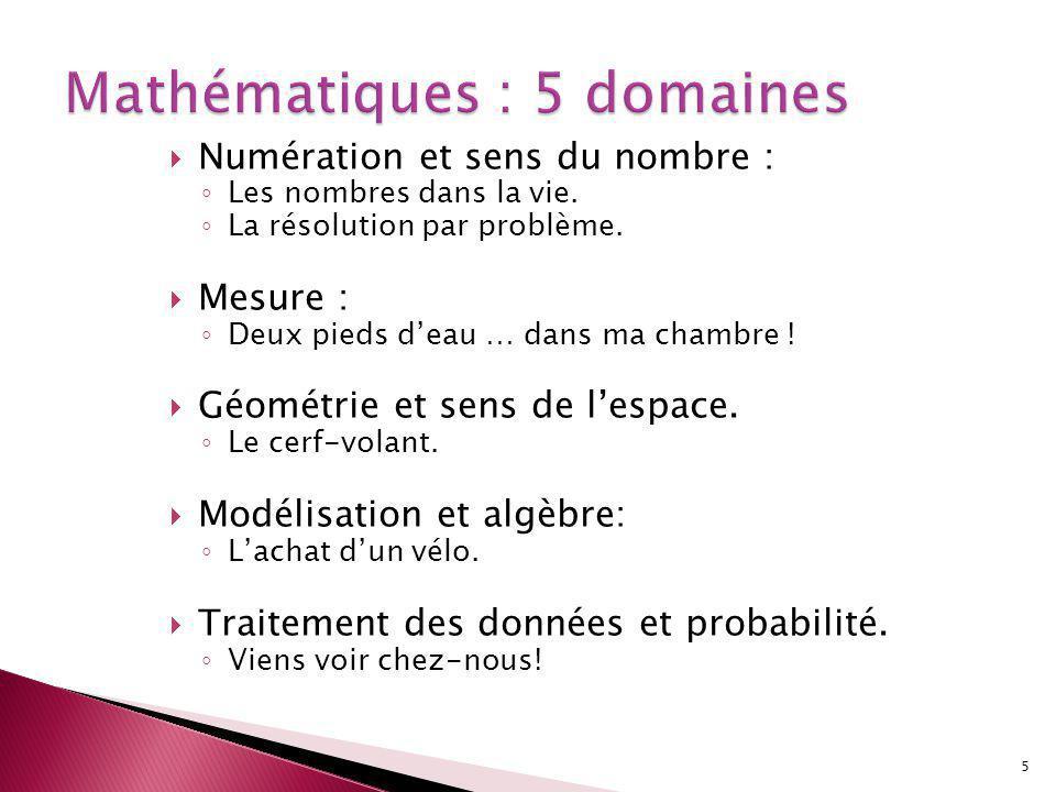 Numération et sens du nombre : Les nombres dans la vie.
