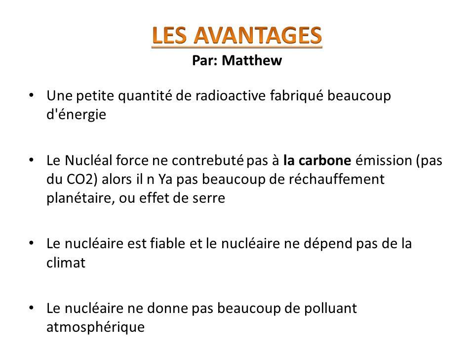 Une petite quantité de radioactive fabriqué beaucoup d'énergie Le Nucléal force ne contrebuté pas à la carbone émission (pas du CO2) alors il n Ya pas