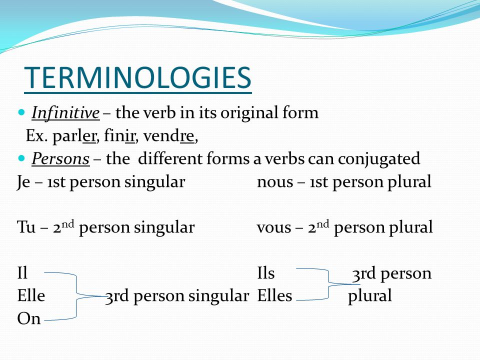 PRACTICE Conjugate the following verbs in the present tense.