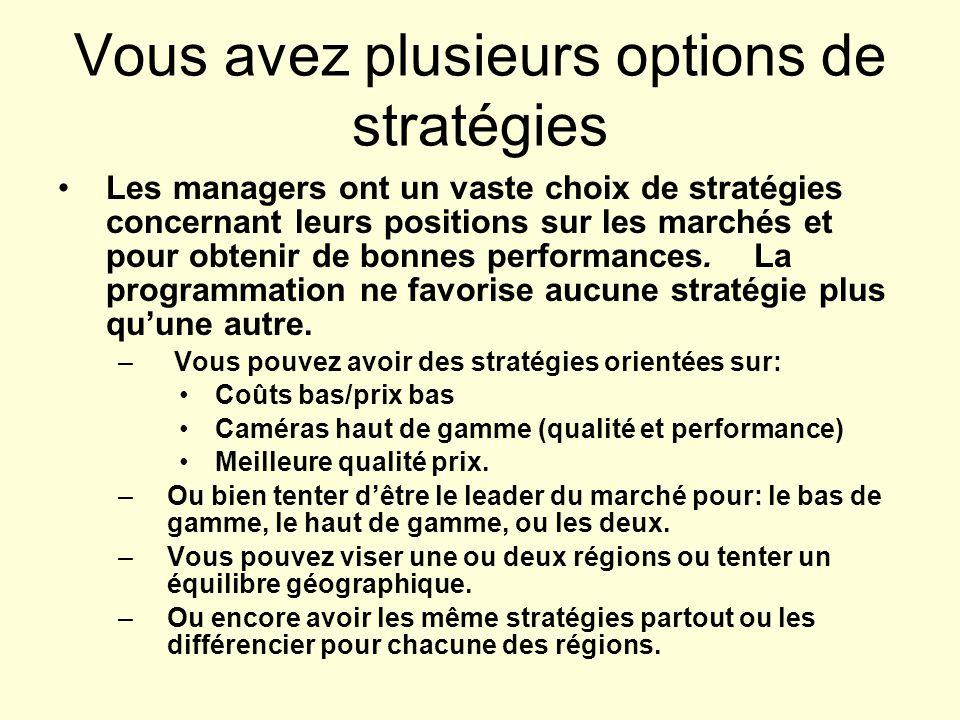 Vous avez plusieurs options de stratégies Les managers ont un vaste choix de stratégies concernant leurs positions sur les marchés et pour obtenir de