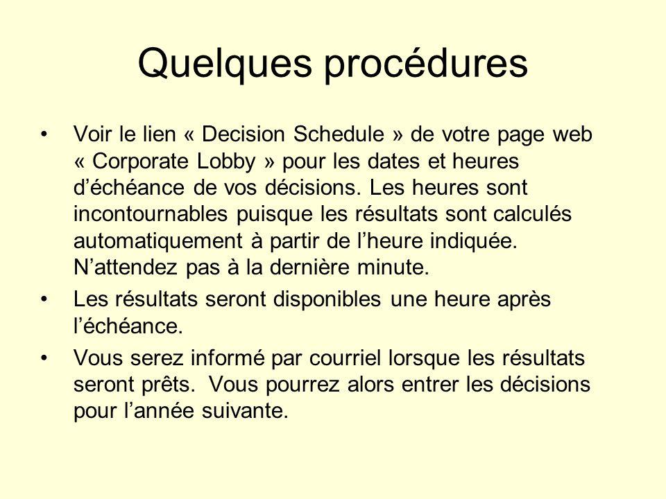 Quelques procédures Voir le lien « Decision Schedule » de votre page web « Corporate Lobby » pour les dates et heures déchéance de vos décisions. Les