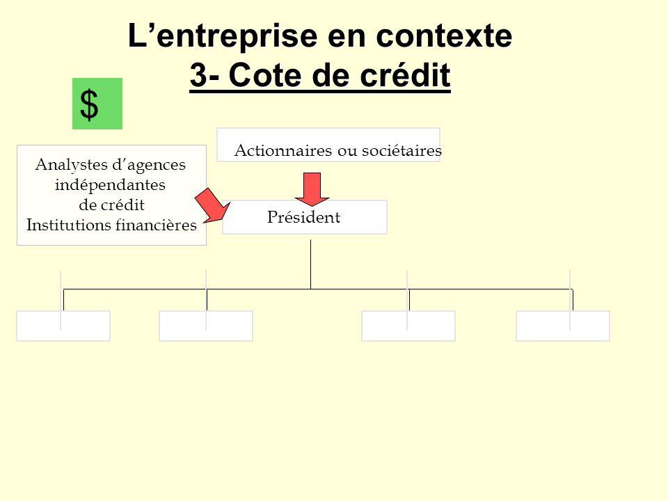 Lentreprise en contexte 3- Cote de crédit Actionnaires ou sociétaires Président $ Analystes dagences indépendantes de crédit Institutions financières