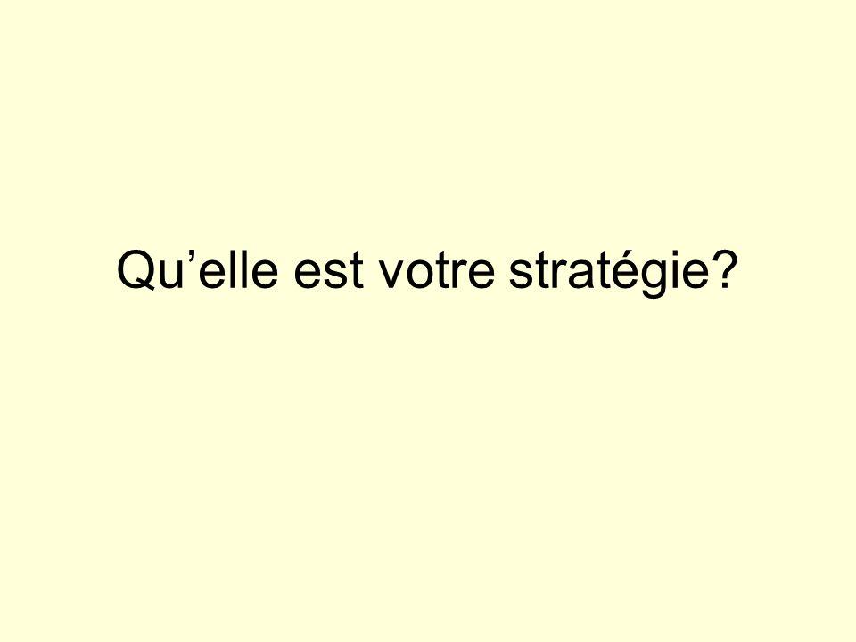 Quelle est votre stratégie?