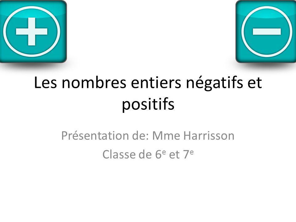 Les nombres entiers négatifs et positifs Présentation de: Mme Harrisson Classe de 6 e et 7 e