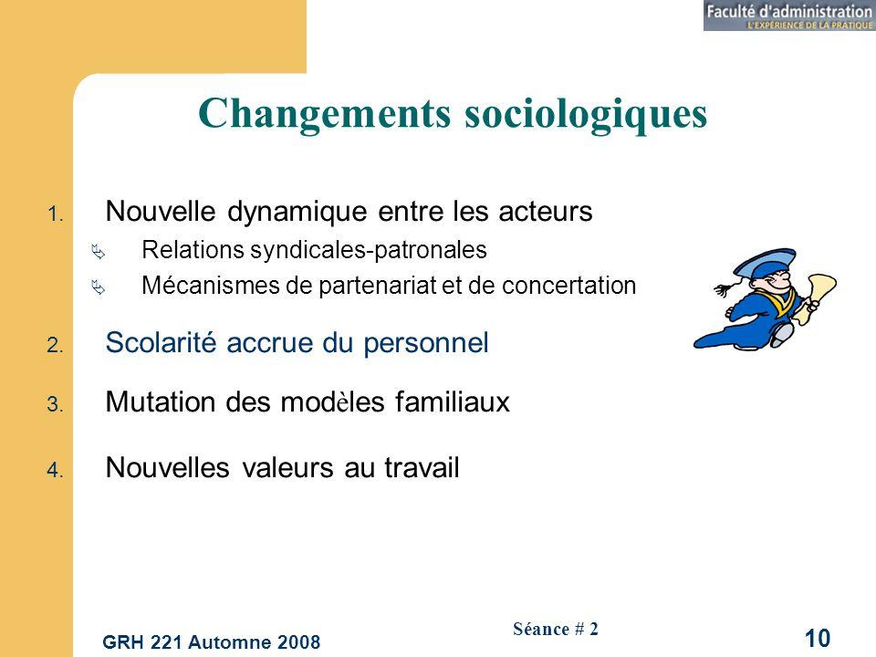 GRH 221 Automne 2008 10 Séance # 2 Changements sociologiques 1.