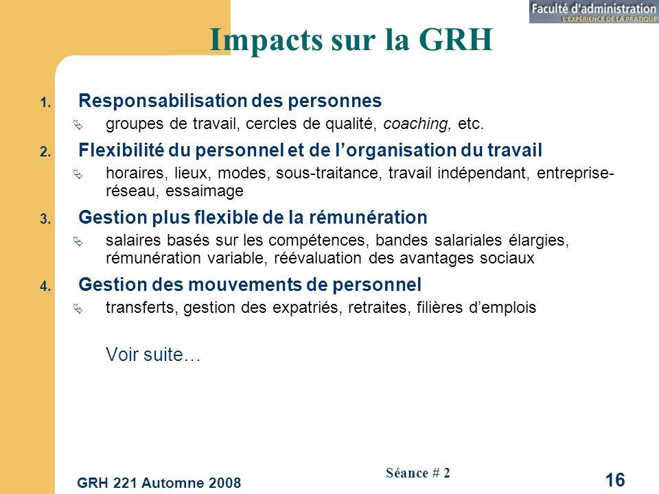 GRH 221 Automne 2008 16 Séance # 2 Impacts sur la GRH 1.