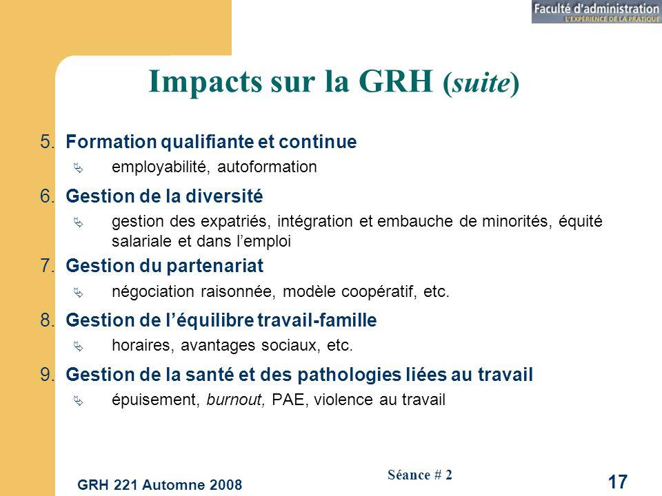 GRH 221 Automne 2008 17 Séance # 2 Impacts sur la GRH (suite) 5.