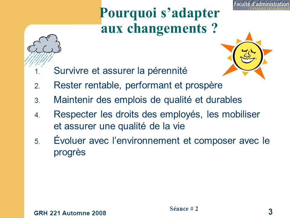 GRH 221 Automne 2008 14 Séance # 2 Impacts sur la nature des emplois 1.