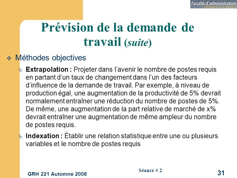 GRH 221 Automne 2008 31 Séance # 2 Prévision de la demande de travail (suite) Méthodes objectives Extrapolation : Projeter dans lavenir le nombre de postes requis en partant dun taux de changement dans lun des facteurs dinfluence de la demande de travail.
