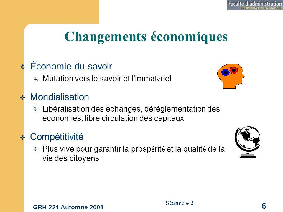 GRH 221 Automne 2008 27 Séance # 2