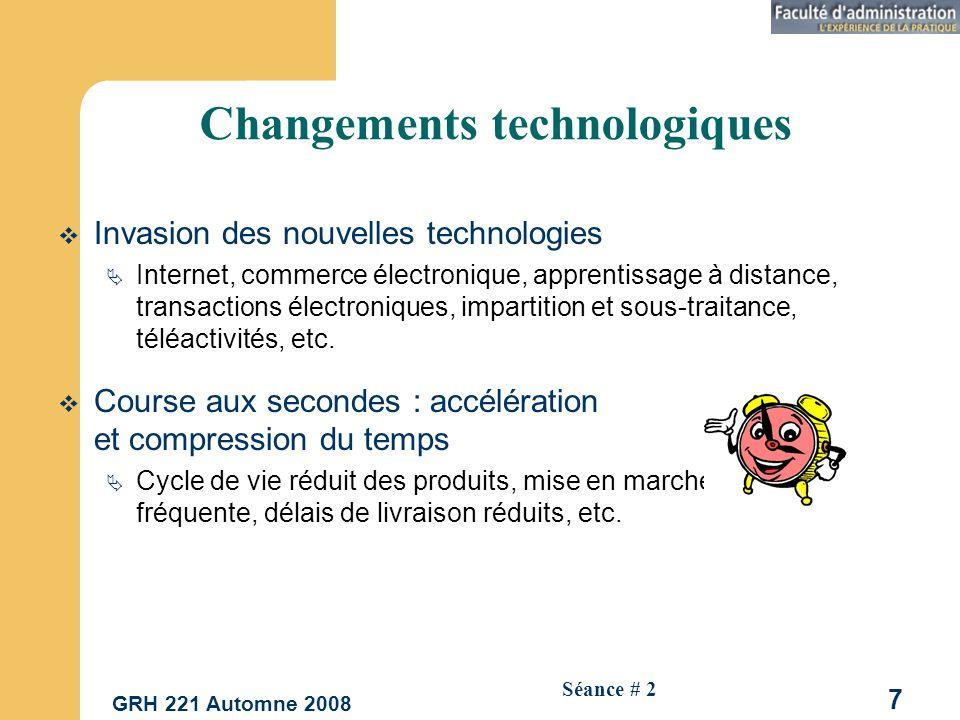 GRH 221 Automne 2008 7 Séance # 2 Changements technologiques Invasion des nouvelles technologies Internet, commerce électronique, apprentissage à distance, transactions électroniques, impartition et sous-traitance, téléactivités, etc.