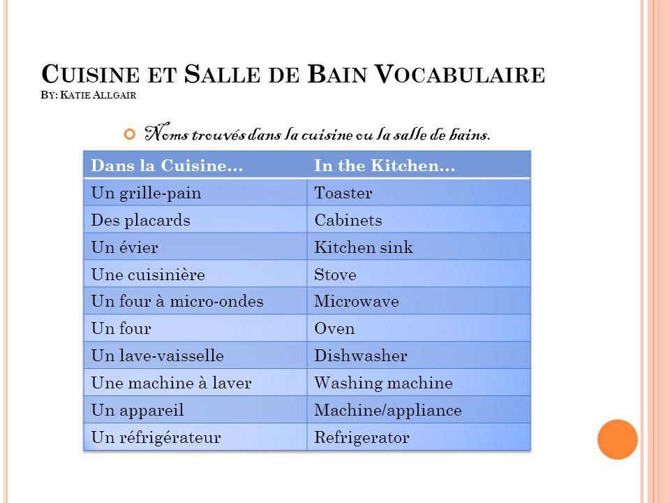 LE VOCABULAIRE DE BAIN